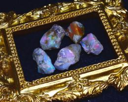 44.32Ct Multi Color Play Ethiopian Welo Opal Rough Lot G1810/R2