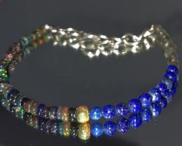 16.10 Crt Natural Welo Smoked Opal, Lapis & Labradorite Bracelet 384