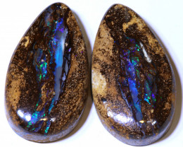 43.98CTS BOULDER PIPE  OPAL  PAIR PRE DRILLED NC-9643    Niceopals