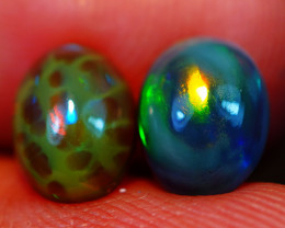 8X6 MM Dark Base!! HoneyComb Pattern!! Welo Ethiopian Opal Pair-R200
