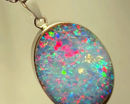 Large Opal Pendant Inlaid Doublet Silver 12.45ct