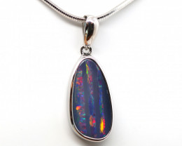 925 ST/ SILVER RHODIUM PLATED OPAL DOUBLET PENDANT [FP177]