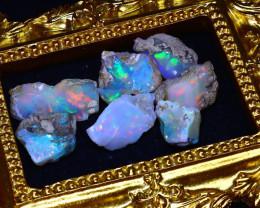 47.70Ct Multi Color Play Ethiopian Welo Opal Rough Lot G2504/R2