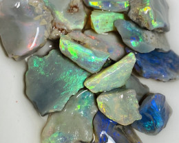 Cutters Select Bright Multicolour Rough Seam Opals- 52 CTs Rough to Cut#707