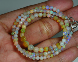31.935 CRT BEAUTIFUL OPAL BALLS NECKLACE MULTI PLAY COLOR WELO OPAL-