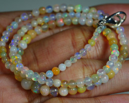 31.690 CRT BEAUTIFUL OPAL BALLS NECKLACE MULTI PLAY COLOR WELO OPAL-