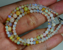 32.795 CRT BEAUTIFUL OPAL BALLS NECKLACE MULTI PLAY COLOR WELO OPAL-