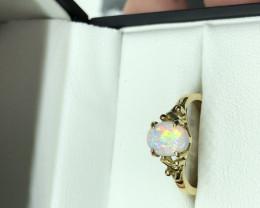 Andamooka opal ring in 18ct yellow gold