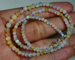 30.960 CRT BEAUTIFUL OPAL BALLS NECKLACE MULTI PLAY COLOR WELO OPAL-