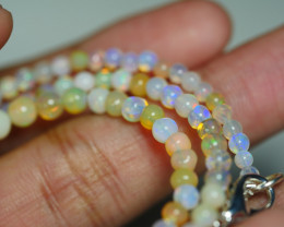 32.750 CRT BEAUTIFUL OPAL BALLS NECKLACE MULTI PLAY COLOR WELO OPAL-