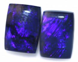 1.92 Cts Nice Oblong Shape Black Opal Pair,blue hues  Code  RD 220