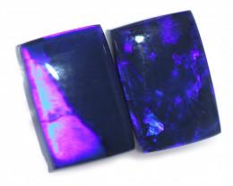 1.42 Cts Nice Oblong Shape Black Opal Pair,blue hues  Code  RD 221