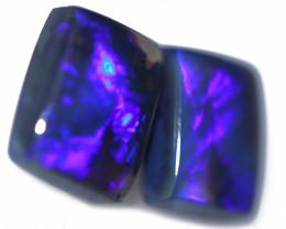4.50 Cts Nice Oblong Shape Black Opal Pair,blue hues  Code  RD 222