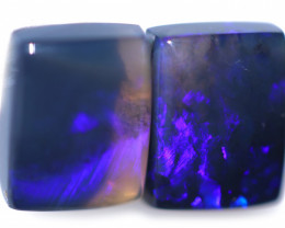 4.40 Cts Nice Oblong Shape Black Opal Pair,blue hues  Code  RD 223