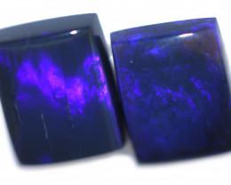 3.96 Cts Nice Oblong Shape Black Opal Pair,blue hues  Code  RD 224