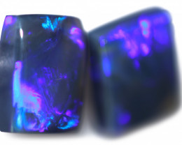 4.28 Cts Nice Oblong Shape Black Opal Pair,blue hues  Code  RD 225