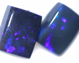 4.43 Cts Nice Oblong Shape Black Opal Pair,blue hues  Code  RD 227
