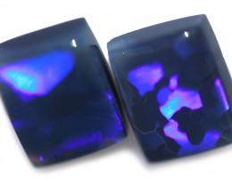 4.44 Cts Nice Oblong Shape Black Opal Pair,blue hues  Code  RD 228