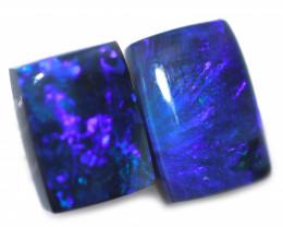 3.74 Cts Nice Oblong Shape Black Opal Pair,blue hues  Code  RD 231