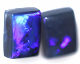 3.36 Cts Nice Oblong Shape Black Opal Pair,blue hues  Code  RD 232