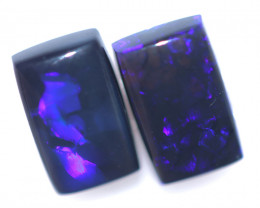 2.41 Cts Nice Oblong Shape Black Opal Pair,blue hues  Code  RD 236