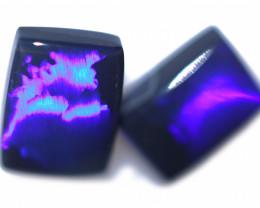 2.64 Cts Nice Oblong Shape Black Opal Pair,blue hues  Code  RD 237