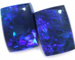 2.10 Cts Nice Oblong Shape Black Opal Pair,blue hues  Code  RD 238