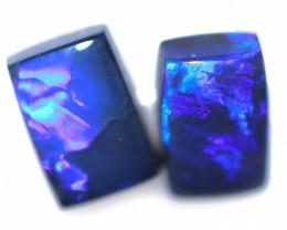 1.38 Cts Nice Oblong Shape Black Opal Pair,blue hues  Code  RD 239