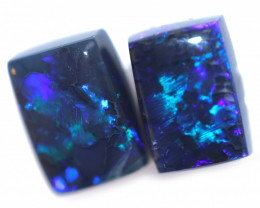 2.19 Cts Nice Oblong Shape Black Opal Pair,blue hues  Code  RD 240