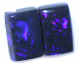 2.43 Cts Nice Oblong Shape Black Opal Pair,blue hues  Code  RD 261
