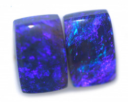 1.20 Cts Nice Oblong Shape Black Opal Pair,blue hues  Code  RD 262