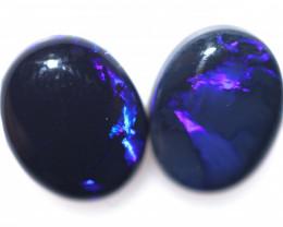 6.80 Cts Nice Oval Shape Black Opal Pair,blue hues  Code  RD 302