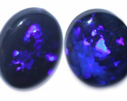 8.45 Cts Nice Oval Shape Black Opal Pair,blue hues  Code  RD 304