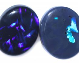 7.80 Cts Nice Oval Shape Black Opal Pair,blue hues  Code  RD 305