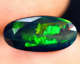 2.40cts Natural Ethiopian Welo Faceted Smoked Opal / HM3229