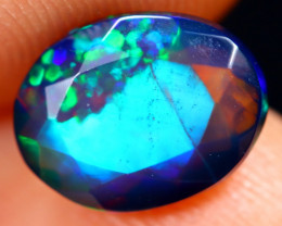 1.07cts Natural Ethiopian Welo Faceted Smoked Opal / HM3236