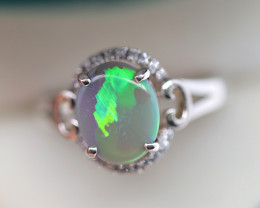 925 ST/ SILVER RHODIUM PLATED SOLID OPAL RING [FR101]