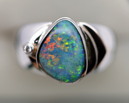 925 ST/ SILVER RHODIUM PLATED OPAL DOUBLET RING [FR103]