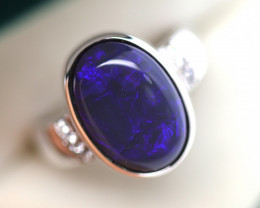925 ST/ SILVER RHODIUM PLATED SOLID OPAL RING [FR104]