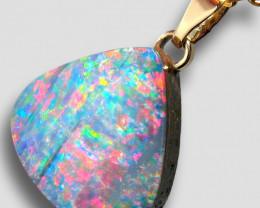 Australian Opal Doublet Pendant 5.3ct 14k Jewelry Gift E27