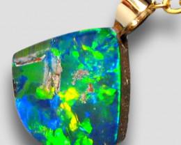Australian Opal Doublet Pendant 3.3ct 14k Jewelry Gift E26