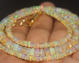 40.25 Crts Natural Ethiopian Welo Opal Beads Necklace 711