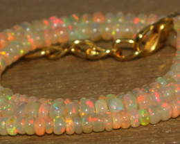 35.35 Crts Natural Ethiopian Welo Opal Beads Necklace 734