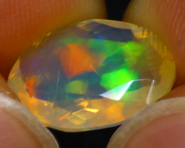 Welo Opal 1.98Ct Natural Faceted Ethiopian Play of Color Opal G1307/A44