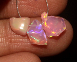 2.95 Crt Natural Ethiopian Dyed Welo Opal Carvin 3 Pieces Lot 30