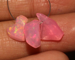 3.75 Crt Natural Ethiopian Dyed Welo Opal Carvin 3 Pieces Lot 46