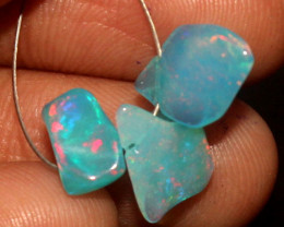 3.50 Crt Natural Ethiopian Dyed Welo Opal Carvin 3 Pieces Lot 55