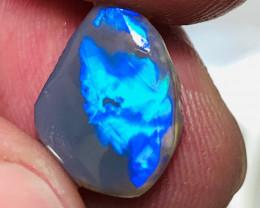 Saturated Vibrant Vivid Semi Black Opal Rub to Shape & Polish
