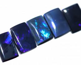8.75 Cts  Set of 5 Nice Oblong Shape Black Opal Code RD 448