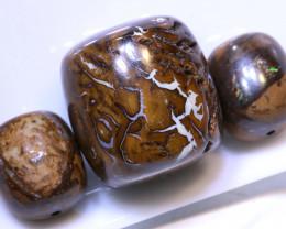 110.65 CTS-Yowah Opal Bead Parcel 3- pcs  Ro-2092  raniopals